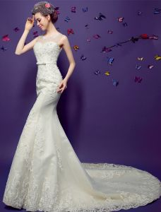 2015 Mermaid Scoop Neck Sleeveless Beading Appliques Lace Wedding Dresses