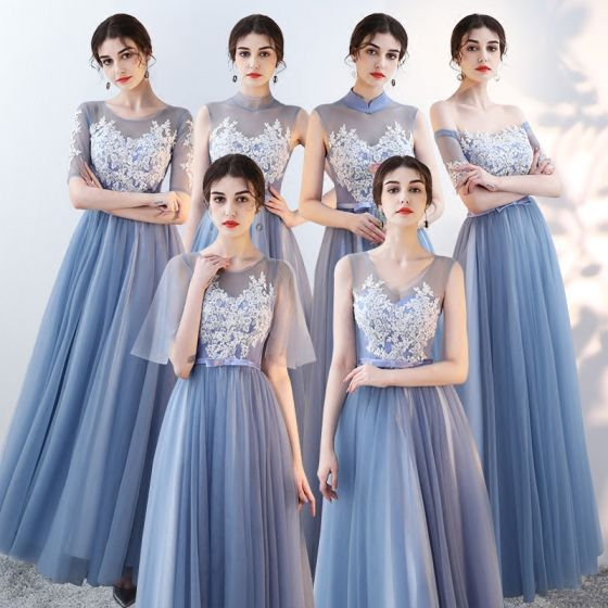 Affordable Sky Blue See-through Bridesmaid Dresses 2018 A-Line / Princess Appliques Lace Bow Sash Floor-Length / Long Ruffle Backless Wedding Party Dresses