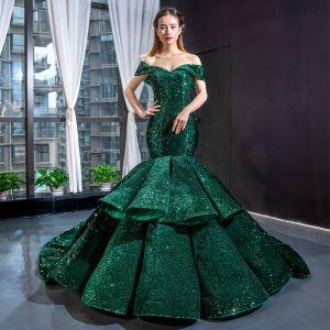 Sparkly Dark Green Sequins Red Carpet Evening Dresses  2020 Trumpet / Mermaid Off-The-Shoulder Short Sleeve Chapel Train Backless Formal Dresses