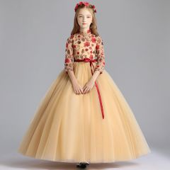 Chinese style Gold Flower Girl Dresses 2019 A-Line / Princess High Neck 3/4 Sleeve Embroidered Flower Sequins Sash Floor-Length / Long Ruffle Wedding Party Dresses