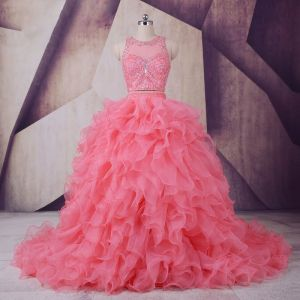 Vintage / Originale Watermelon Rouge Robe De Bal 2017 Robe Boule Encolure Dégagée Sans Manches Perlage Faux Diamant Paillettes Volants en Cascade Organza Robe De Ceremonie Tribunal Train