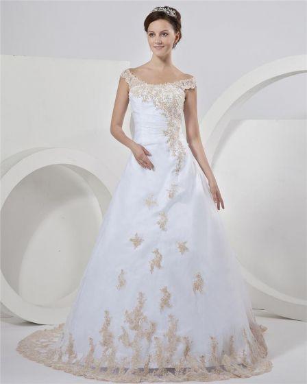 Satin Organza Beading Applikationer Off-the-axeln Chapel Tag A-linje Brudklänningar Bröllopsklänningar