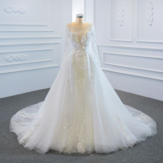 Luxury / Gorgeous White Bridal Wedding Dresses 2020 Ball Gown See-through Scoop Neck Long Sleeve Backless Appliques Lace Handmade  Beading Detachable Chapel Train