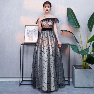 Modern / Fashion Black Prom Dresses 2018 A-Line / Princess Spotted Off-The-Shoulder Backless Short Sleeve Floor-Length / Long Formal Dresses