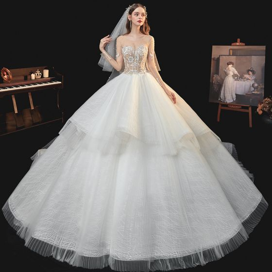 Fabulous Champagne Bridal Wedding Dresses 2020 Ball Gown See-through Square Neckline Long Sleeve Backless Handmade  Beading Pearl Glitter Tulle Cathedral Train Ruffle
