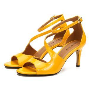 Enkel Gul Gateklær Sandaler Dame 2020 Ankelstropp Patent Lær 8 cm Stiletthæler Peep Toe Sandaler