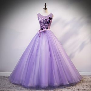 Flower Fairy Fairytale Lavender Quinceañera Prom Dresses 2020 Ball Gown Scoop Neck Appliques Pearl Rhinestone Bow Lace Flower Sleeveless Backless Floor-Length / Long Formal Dresses
