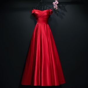 Chic / Beautiful Red Evening Dresses  2017 A-Line / Princess Backless Off-The-Shoulder Sleeveless Ankle Length Formal Dresses