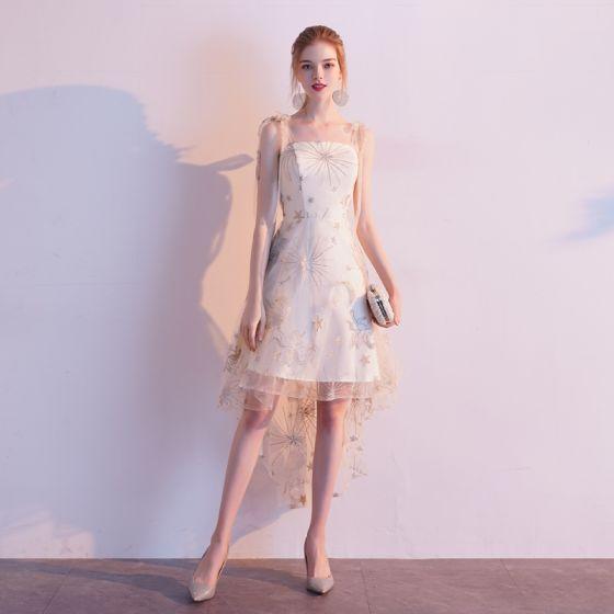 Mode Champagner Heimkehr Abiballkleider 2020 A Linie Spaghettiträger Spitze Star Ärmellos Rückenfreies Asymmetrisch Festliche Kleider