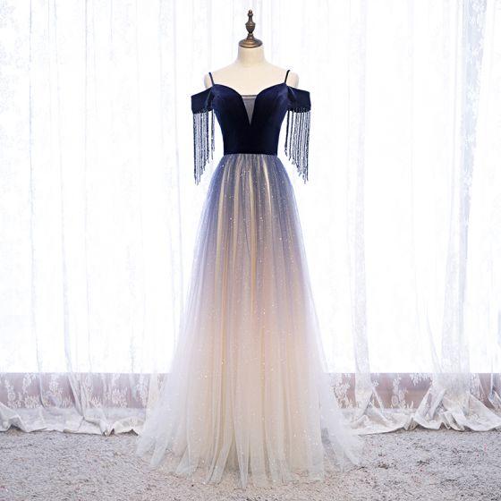 Charming Navy Blue Gradient-Color Glitter Evening Dresses  2020 A-Line / Princess Suede Spaghetti Straps Beading Tassel Short Sleeve Backless Floor-Length / Long Formal Dresses