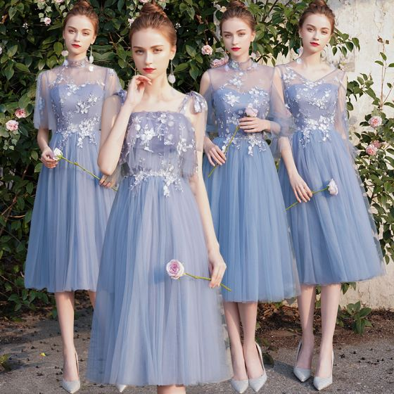Discount Sky Blue See-through Bridesmaid Dresses 2019 A-Line / Princess Appliques Lace Tea-length Backless Wedding Party Dresses