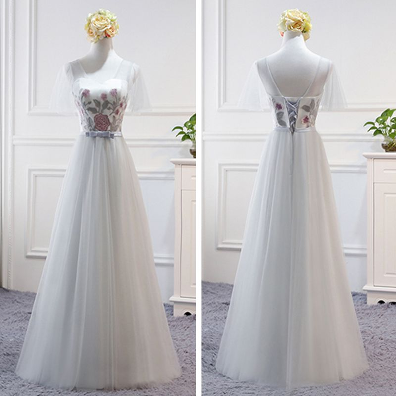 Chic / Beautiful Grey Bridesmaid Dresses 2018 A-Line / Princess Bow Sash Floor-Length / Long Ruffle Backless Wedding Party Dresses