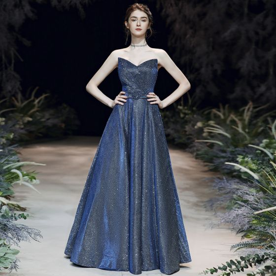 Starry Sky Navy Blue Evening Dresses  2020 A-Line / Princess Sweetheart Sleeveless Glitter Polyester Sash Floor-Length / Long Ruffle Backless Formal Dresses