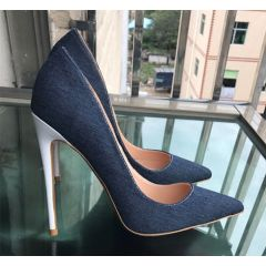 Chic / Beautiful Navy Blue Casual Pumps 2019 Leather 12 cm Stiletto Heels Pointed Toe Pumps