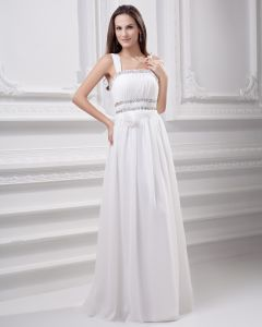 Spaghetti Straps Floor Length Beading Pleated Chiffon Empire Wedding Dress