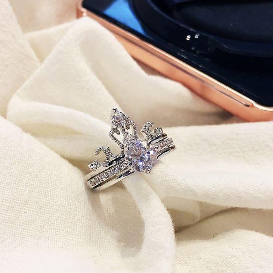 Luxus Herrlich Silber Strass Festzug Hochzeit Ringe 2019