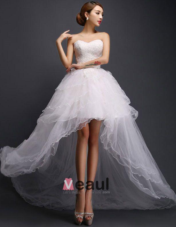 Une Ligne Courte Et Mini Cherie Robe De Mariée En Tulle Asymetrique