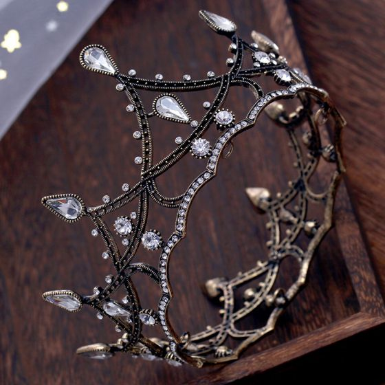 Vintage / Retro Baroque Black Tiara Rhinestone Accessories 2019 Metal Tiara