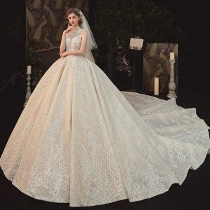 Vintage / Retro Champagne See-through Bridal Wedding Dresses 2020 Ball Gown High Neck Sleeveless Backless Appliques Lace Beading Glitter Tulle Cathedral Train Ruffle