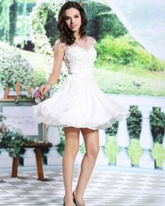2015 White Lace Sweetheart Appliques Ruffle Cocktail Dress