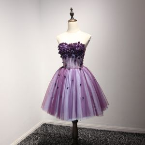 Chic / Beautiful Grape Cocktail Dresses 2017 Ball Gown Strapless Sleeveless Appliques Flower Beading Crystal Short Ruffle Backless Formal Dresses