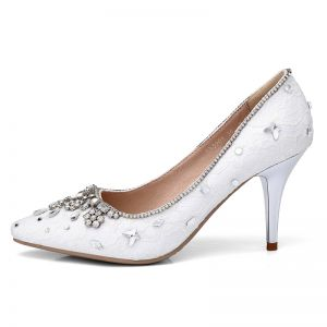 Chic / Beautiful White Wedding Shoes 2018 Lace Crystal Rhinestone Leather 8 cm Stiletto Heels Pointed Toe Wedding Pumps
