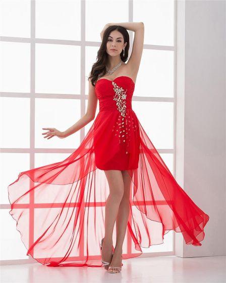 Plisowany Szyfon Linke Ukochana Asymetryczne Kobiet Wysoki Niski Sukienki Koktajlowe