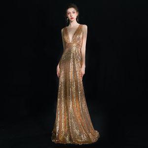 Glitzernden Gold Abendkleider 2019 Etui Tiefer V-Ausschnitt Ärmellos Glanz Pailletten Lange Rüschen Rückenfreies Festliche Kleider