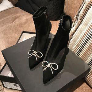 Mooie / Prachtige Zwarte Straatkleding Dames Laarzen 2020 Rhinestone Strik 9 cm Naaldhakken / Stiletto Spitse Neus Laarzen