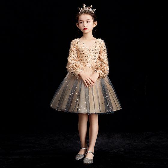 Bling Bling Szampan Sukienki Dla Dziewczynek 2019 Suknia Balowa V-Szyja Bufiasta Długie Rękawy Cekinami Cekiny Krótkie Wzburzyć Bez Pleców Sukienki Na Wesele