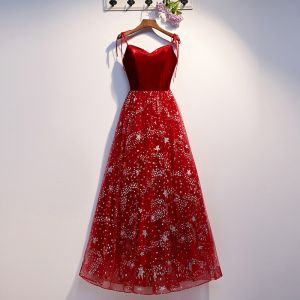 Modern / Fashion Burgundy Evening Dresses  2019 A-Line / Princess Spaghetti Straps Suede Star Sequins Sleeveless Backless Floor-Length / Long Formal Dresses