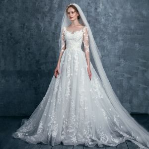 Romantic Ivory Wedding Dresses 2017 A-Line / Princess Square Neckline 3/4 Sleeve Appliques Lace Flower Sequins Court Train
