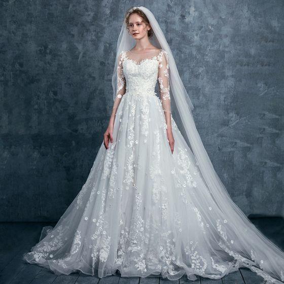 Romantic Ivory Wedding Dresses 2017 A-Line / Princess Square Neckline 3/4 Sleeve Appliques Lace Flower Sequins Court Train