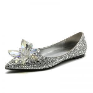 Luxury / Gorgeous Baroque Cinderella Silver Womens Shoes 2019 Crystal Rhinestone Pointed Toe Flat