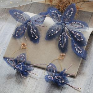 Chic / Beautiful Navy Blue Earrings Headpieces 2019 Tulle Butterfly Beading Rhinestone Handmade  Evening Party Prom Accessories