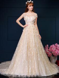 Vacker Balklänning Applikationer Blommor Spets Brudklänning Med Paljetter