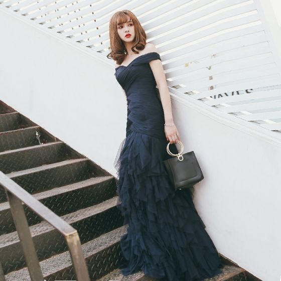 Elegant Navy Blue Evening Dresses  2017 Trumpet / Mermaid Strapless Lace Crossed Straps Striped Backless Cascading Ruffles Evening Party Formal Dresses