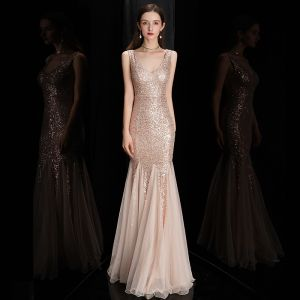 Chic / Belle Or Rose Paillettes Robe De Soirée 2020 Trompette / Sirène épaules Sans Manches Longue Volants Dos Nu Robe De Ceremonie