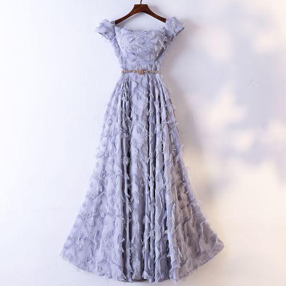 Chic / Belle Gris Robe De Soirée 2017 Princesse Métal Ceinture Gland De l'épaule Manches Courtes Longueur Cheville Robe De Ceremonie