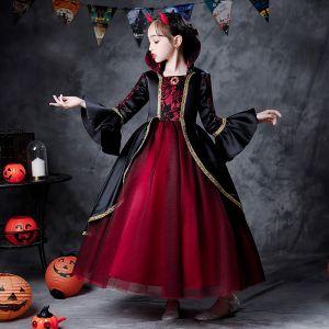 Twee kleuren Rode Zwarte Halloween Cosplay Bloemenmeisjes Jurken 2020 Baljurk Vierkante Halslijn Lange Mouwen Rhinestone Lange Ruche