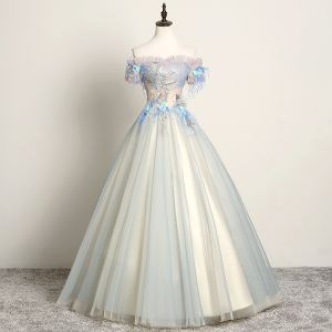 Modern / Fashion Sky Blue Prom Dresses 2019 A-Line / Princess Off-The-Shoulder Lace Flower Pearl Appliques Short Sleeve Backless Floor-Length / Long Formal Dresses