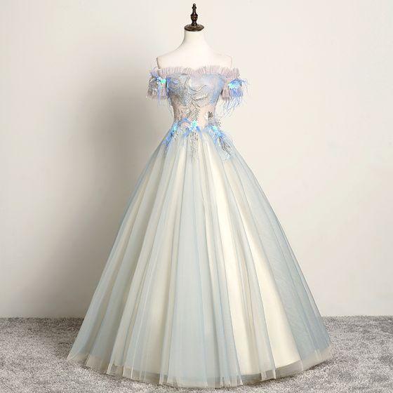 Modern / Fashion Sky Blue Prom Dresses 2019 A-Line / Princess Off-The-Shoulder Lace Flower Pearl Appliques Short Sleeve Backless Floor-Length / Long Formal Dresses