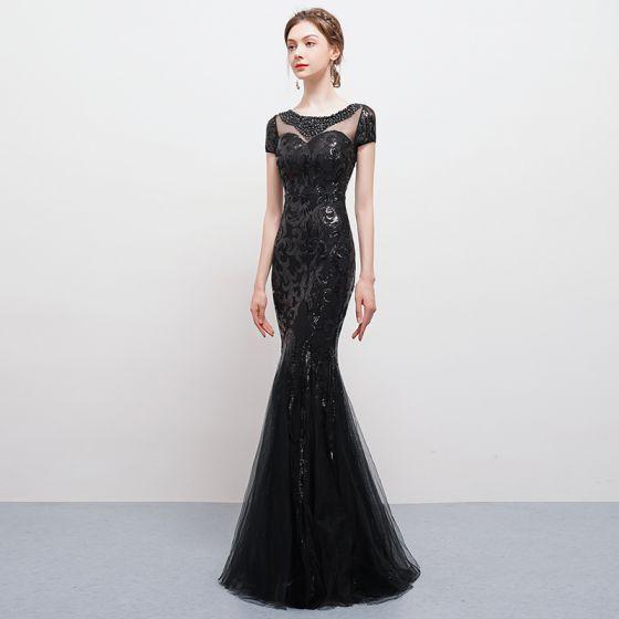 0daeca39d Moda Negro Largos Vestidos de noche 2018 Trumpet   Mermaid U-escote Tul Sin  Espalda Rebordear Lentejuelas Rhinestone Vestidos Formales