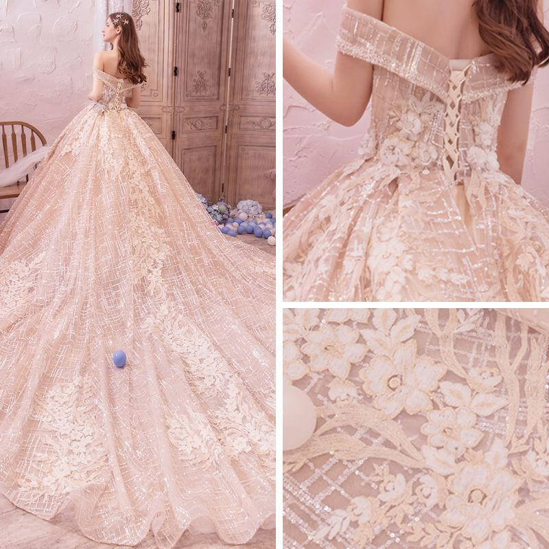 Bling Bling Champagne Wedding Dresses 2019 A-Line / Princess Off-The-Shoulder Short Sleeve Backless Appliques Lace Flower Beading Glitter Tulle Royal Train Ruffle