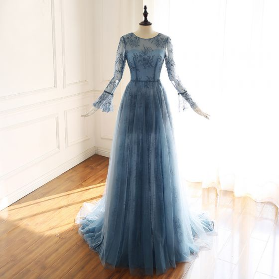 Luxury / Gorgeous Ink Blue See-through Evening Dresses  2019 A-Line / Princess Scoop Neck Bell sleeves Handmade  Beading Court Train Ruffle Formal Dresses