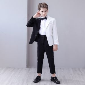 Amazing / Unique Two Tone Black White Boys Wedding Suits 2020