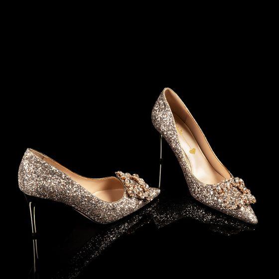 Glitter Goud Glans Bruidsschoenen 2020 Leer Rhinestone Pailletten 8 cm Naaldhakken / Stiletto Spitse Neus Huwelijk Pumps