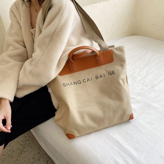 Schlicht Khaki Quadratische Tragetasche Einkaufstasche Schultertaschen 2021 Segeltuch Freizeit Damentaschen
