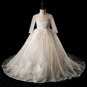 Brillante Marfil Transparentes Vestidos para niñas 2019 Ball Gown Scoop Escote Manga Larga Glitter Lentejuelas Chapel Train Ruffle Sin Espalda Vestidos para bodas