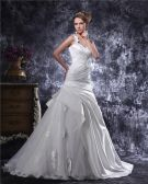 One Shoulder Beading Ruffle Floor Length Satin Mermaid Wedding Dress